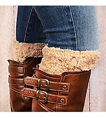 One Pair of Beige Faux Fur Boot Cuffs #EABC4008-BE