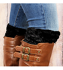 One Pair of Black Faux Fur Boot Cuffs #EABC4008-BK