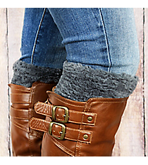 One Pair of Dark Grey Faux Fur Boot Cuffs #EABC4008-GE