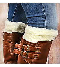 One Pair of Ivory Faux Fur Boot Cuffs #EABC4008-IV