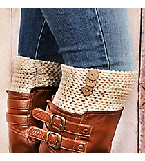 One Pair of 3-Button Accented Beige Boot Cuffs #EABC4010-BE