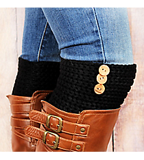 One Pair of 3-Button Accented Black Boot Cuffs #EABC4010-BK