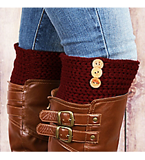 One Pair of 3-Button Accented Burgundy Boot Cuffs #EABC4010-BU