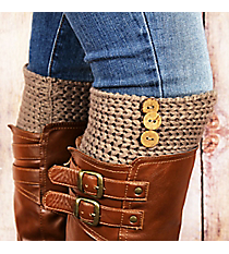 One Pair of 3-Button Accented Taupe Boot Cuffs #EABC4010-TP