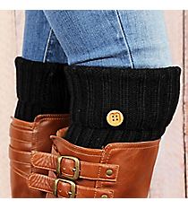 One Pair of Black Knit Fold-Over Boot Cuffs with Button Accent #EABC4012-BK