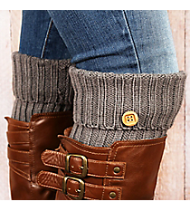One Pair of Dark Grey Knit Fold-Over Boot Cuffs with Button Accent #EABC4012-GE