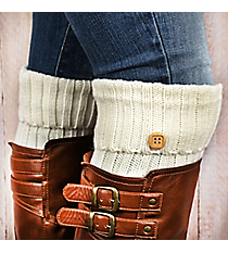 One Pair of Ivory Knit Fold-Over Boot Cuffs with Button Accent #EABC4012-IV