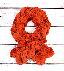 Ruched Rust Fur Pull-Through Scarf #EAFR6196-RU
