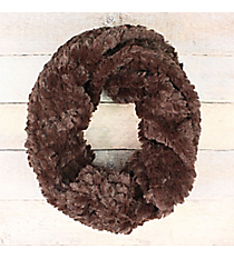 Brown Faux Fur Twisted Tube Scarf #EAFR8499-BR