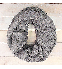 Grey Faux Fur Twisted Tube Scarf #EAFR8499-GE