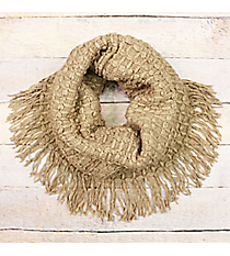 Taupe Knit Tube Scarf with Fringe #EANT8414-TP