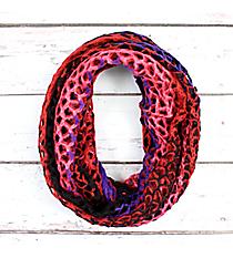 Multi-Color Open-Weave Crochet Infinity Scarf #EANT7403-PP