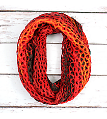 Red Ombre Open-Weave Crochet Infinity Scarf #EANT7403-RD