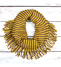 Fringed Mustard and Brown Striped Infinity Scarf #EANT7504-MU