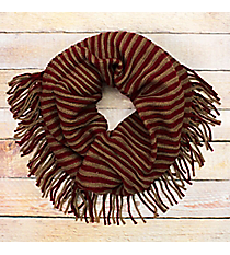 Fringed Red and Brown Striped Infinity Scarf #EANT7504-RD