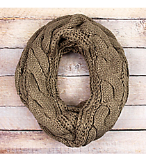 Taupe Cable Knit Infinity Scarf #EANT7524-TP