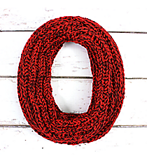 Two-Tone Red Knit Mini Tube Scarf #EANT8105-RD