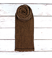 Fringed Taupe and Black Houndstooth Long Scarf #EANT8145-TP