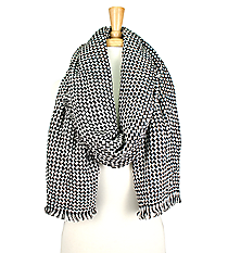 Fringed Black and White Houndstooth Long Scarf #EANT8145-WT