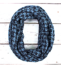 Blue and Navy Feathery Soft Houndstooth Infinity Scarf #EANT8178-BL