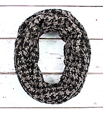 Grey and Black Feathery Soft Houndstooth Infinity Scarf #EANT8178-GE