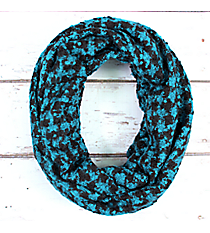 Turquoise and Black Feathery Soft Houndstooth Infinity Scarf #EANT8178-TQ