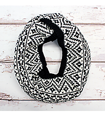 White and Black Aztec Print Knit Infinity Scarf #EANT8205-BK