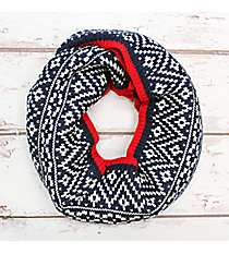 Navy, Red, and White Aztec Print Knit Infinity Scarf #EANT8205-NV