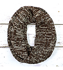 Brown and Winter White Knit Infinity Scarf #EANT8218-BR