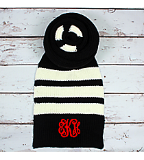 Black and White Striped Long Knit Scarf #EANT8221-BK