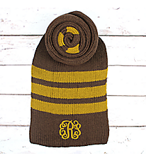 Brown and Mustard Striped Long Knit Scarf #EANT8221-BR