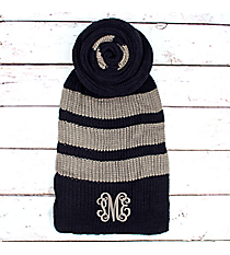 Navy and Grey Striped Long Knit Scarf #EANT8221-NV
