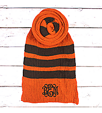 Orange and Brown Striped Long Knit Scarf #EANT8221-OR