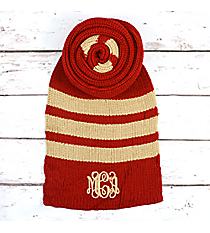 Red and Tan Striped Long Knit Scarf #EANT8221-RD