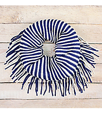 Royal Blue and White Striped Infinity Scarf with Fringe #EANT8413-BLWT