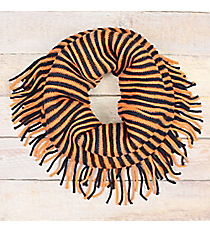 Navy and Orange Striped Infinity Scarf with Fringe #EANT8413-NVOR