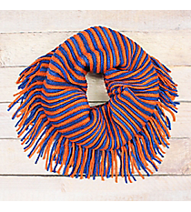 Blue and Orange Striped Infinity Scarf with Fringe #EANT8413-ORBL