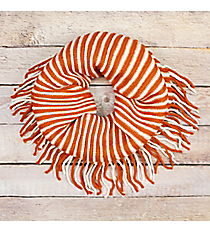 Orange and White Striped Infinity Scarf with Fringe #EANT8413-ORWT