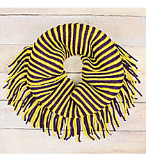 Purple and Yellow Striped Infinity Scarf with Fringe #EANT8413-PPMU