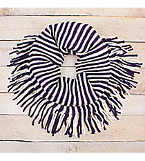 Purple and White Striped Infinity Scarf with Fringe #EANT8413-PPWT
