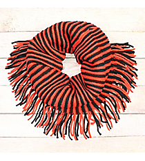 Red and Black Striped Infinity Scarf with Fringe #EANT8413-RDBK