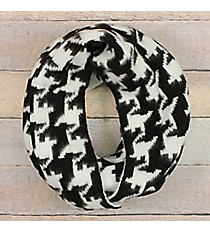 Black and White Houndstooth Reversible Infinity Scarf #EANT8415-BK