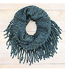 Navy and Green Open Knit Infinity Scarf with Fringe #EANT8426-NVGN