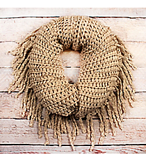 Crisp Days Beige Fringed Infinity Scarf #EANT8427-BE