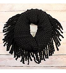 Crisp Days Black Fringed Infinity Scarf #EANT8427-BK