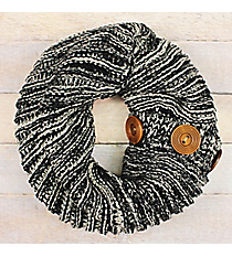 Button Me Up Grey Two-Tone Knit Convertible Infinity Scarf #EANT8440-GE