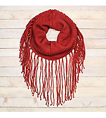 On The Fringe Burgundy Tube Scarf #EANT8442-BU