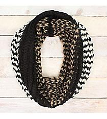 Hazy Waves Black Knit Infinity Scarf #EANT8485-BK