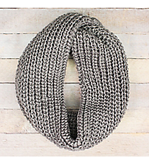 Gray Knit Twisted Infinity Scarf #EANT8503-GE