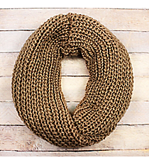 Taupe Knit Twisted Infinity Scarf #EANT8503-TP